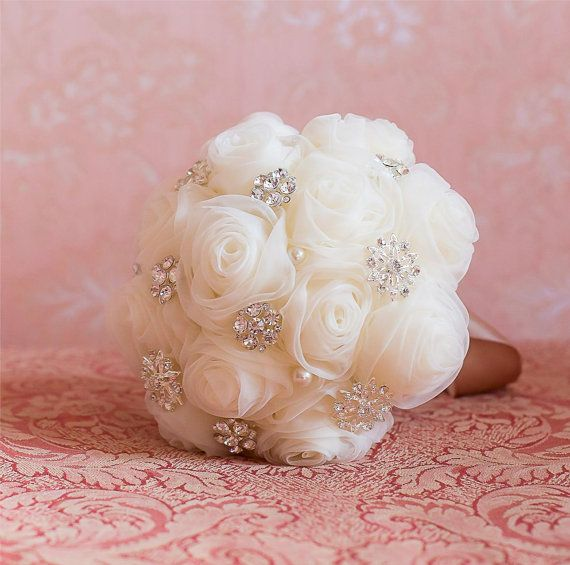 Hochzeit - Monroe Brides Bridesmaids Brooch Bouquet Jewelled Wedding Accessory Handmade Flowers Cream Chiffon
