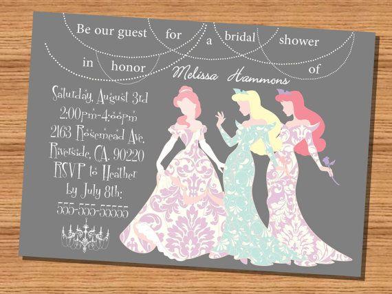 Disney Princesses Silhouette Bridal Shower Invitation 5x7