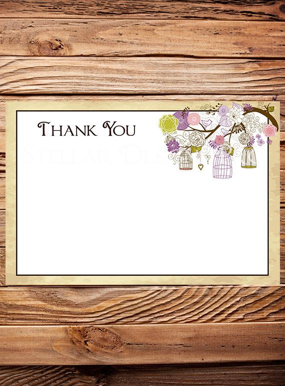 Wedding - Purple, Green, Birdcages Thank You Note - INSTANT Download - 4x6, Purple, Birds, Birdcages, 1 PDF and 1 JPEG -A82