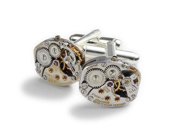 Свадьба - Steampunk Cufflinks Vintage Rare Longines watch movement gears wedding anniversary Gift Groom formal wear silver cuff links Men Jewelry 2752