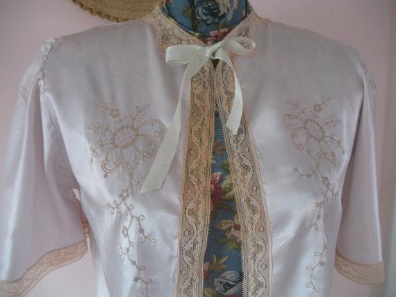 Свадьба - 1940's Lingerie Blouse, Bed Jacket Silk & Lace