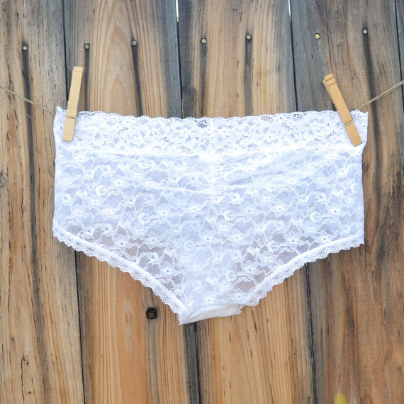 Mariage - BEST VALUE -  Bridal Panty, White Undie with BLUE stones, Mrs or I do in rhinestones Wedding size Small - Ships in 24hrs