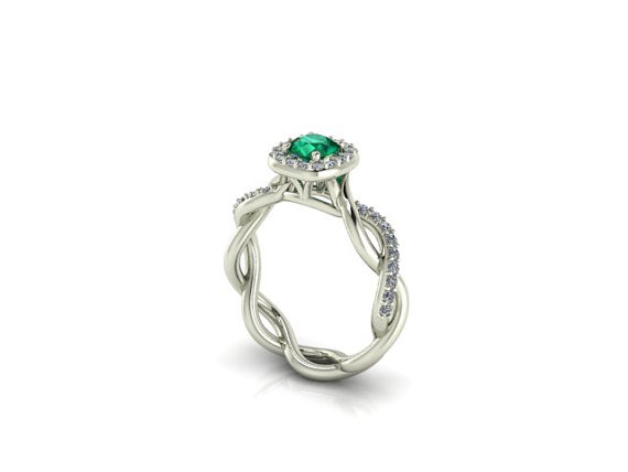 Mariage - Diamond Bridal Wedding ring, Braided shank Engagement Ring with Natural Emerald Stone