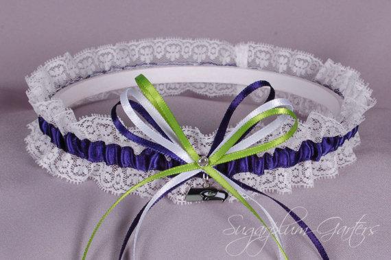 Mariage - Seattle Seahawks Lace Wedding Garter - Ready to Ship