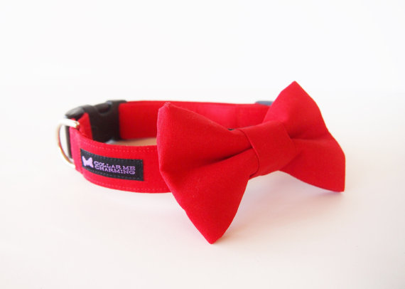 Hochzeit - Classic Dog Collar Bow Tie Set Red