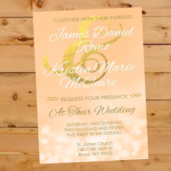Wedding - Wedding Invitation, Blush and Champagne Wedding Invite, Gold and Pink Wedding Invitation, Formal Wedding Invite, Bokah Wedding Invitation,