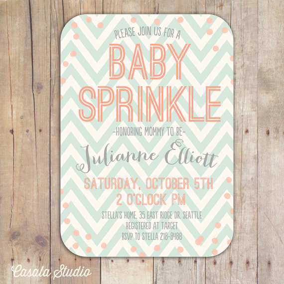 Peach And Mint Baby Sprinkle Baby Shower Invitation Bridal Shower