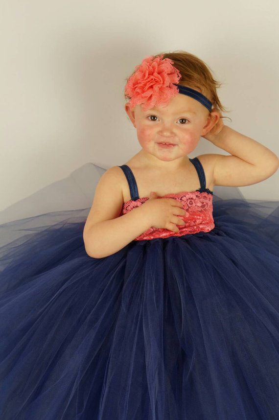 Hochzeit - Coral navy tulle dress, princess party, flower girl dress, matching headband, tutu dress first birthday, navy coral wedding