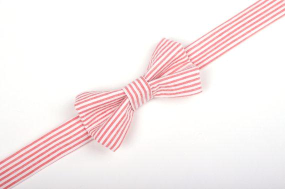 زفاف - Coral Seersucker Bow Tie -Baby Toddler Child Boys - Wedding - photo prop