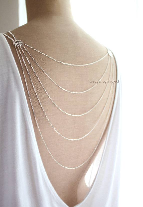R O M A N C E Back Necklace Backdrop Necklace Silver Back Drop Necklace Wedding Jewelry
