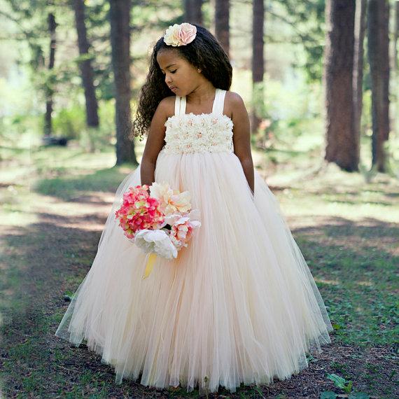 e259d85965e flower girl dress- champagne flower girl dress- blush tutu dress-vintage flower  girl dress- ivory flower girl dress