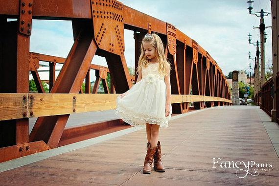 Wedding - Ivory Toddler  Dress,  Vintage Dress,  Flower girl dress, Beige Toddler Dress, Girls Dress, Rustic Wedding, Ivory Dress, Toddler Dress
