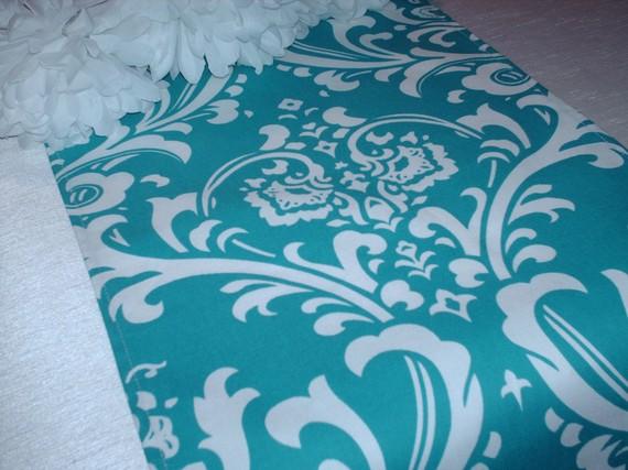 زفاف - TABLE RUNNER Damask Osborne White on Turquoise/Teal Runner Wedding Bridal