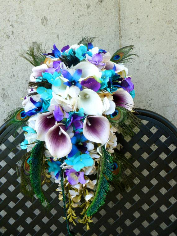 Cascading Bridal Bouquet Pico Callas Turquoise Champagne Ivory Hydrangeas Real Touch Calla Lilies Purple Blue Orchids