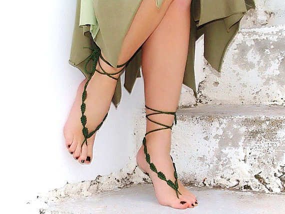 Hochzeit - Crochet  barefoot sandals, green, nude shoes, wedding, Fashion Accessories, Yoga, Toe thong Bottomless shoes, beach pool, Sexy gipsy feet