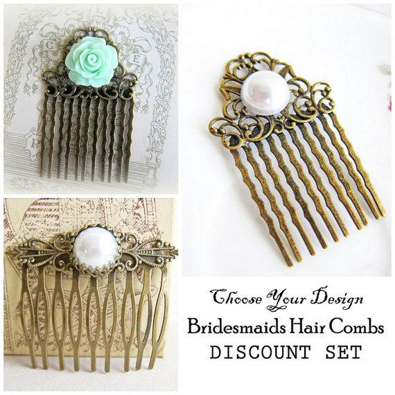 زفاف - DISCOUNT Bridesmaid Hair Comb Set of 3 Three, Gift, Wedding Hair Accessories, Bridal, Pearl Hair Comb, Floral Head Piece, CHOOSE DESIGN