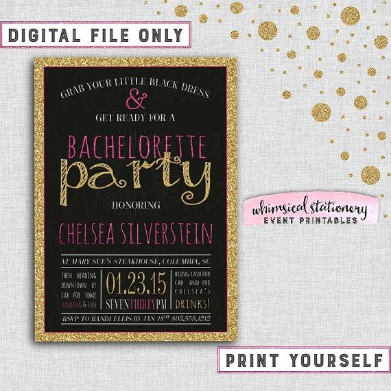 Bachelorette Party Invitation Sparkle On Pink Collection