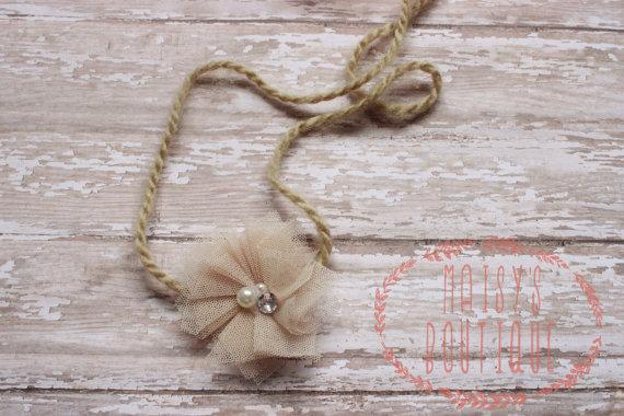 Wedding - Beige Tulle Pearl Rhinestone Tie Back Flower Headband/ Shabby Flower Headband/ Newborn Headband/ Baby Headband/ Flower Girl/ Wedding/ Photo