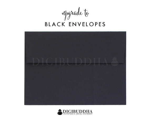 زفاف - Upgrade to BLACK ENVELOPES Flat Matte Envelope Add-On for any digibuddha Invitations or Thank You Cards. Wedding Bridal Shower Baby Shower