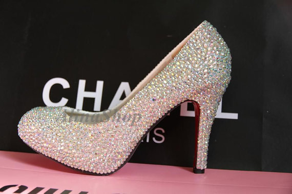 online store d06b0 40579 Luxury Wedding Heels Red Sole Bridal Shoes AB Color Crystals ...