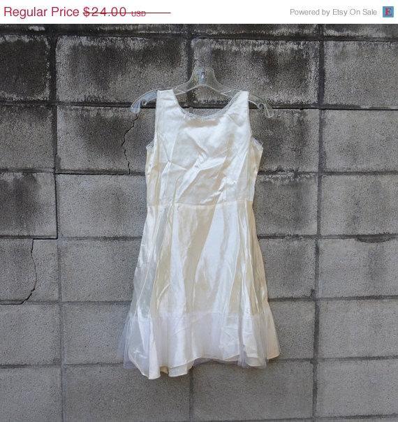 Wedding - White Slip Vintage 1950s Crinoline Kid's Girls 12 Off Cream Satin Dress