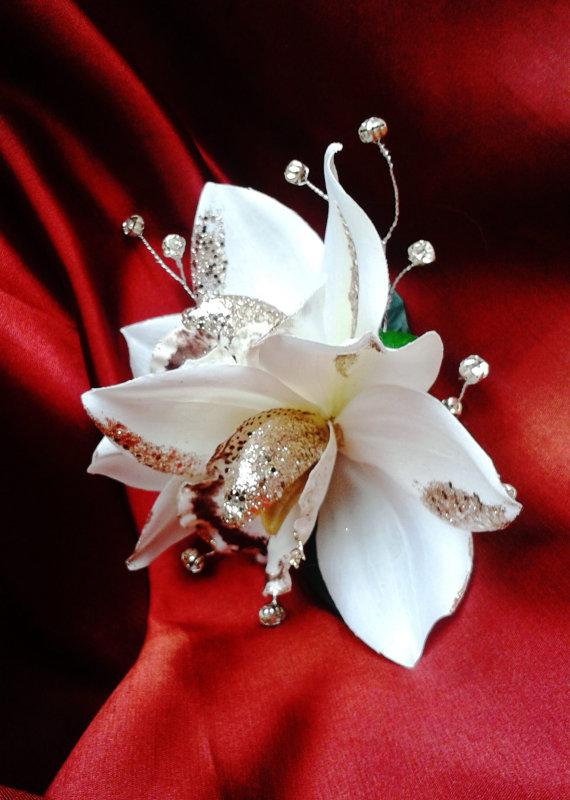 Mariage - SILK HAIR ORCHIDS - Hawaiian Flowers, Bridal Flowers, Beach wedding, Fascinator, Flower Clip, Headpiece, Wedding Hair Accessory, Tropical