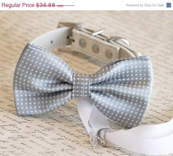 Wedding - Gray Dog Bow Tie, Dog ring bearer, Pet Wedding accessory, Gray wedding accessory,Proposal idea, Cute