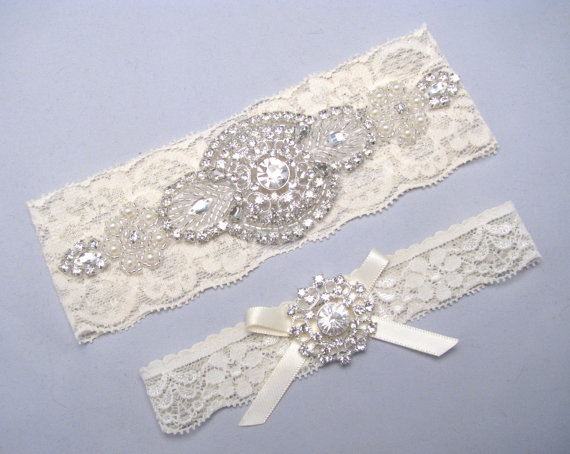 Rhinestone Pearl Bridal Garter Set Crystal Lace Garter