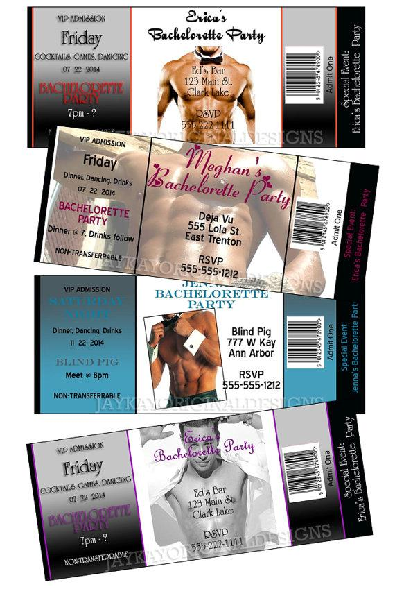 زفاف - Sexy Hunk Bachelorette Party Personalized Ticket Style invitations - set of 12
