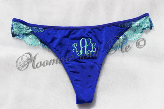 Wedding - Monogram Bridal Lace Panties-Personalized Bridal Lace Thong-Bridal Lingerie-Keepsake Bridal Panties-Honeymoon-Bridal Thong-Blue Lace Thong