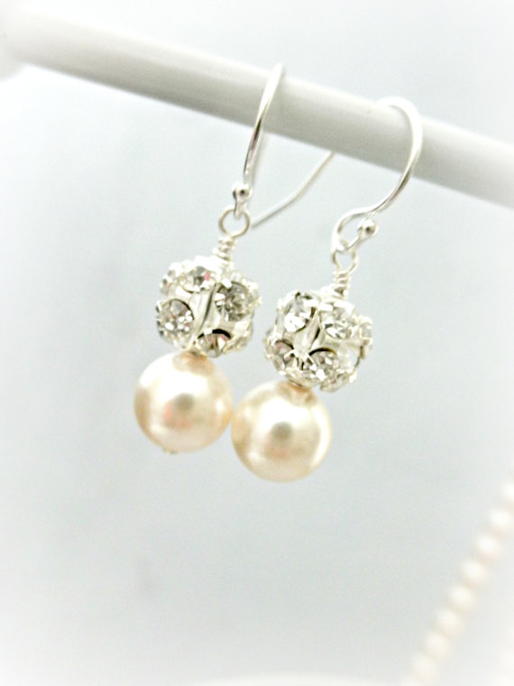 Свадьба - Swarovski Pearl Bridal Earrings // Rhinestone Fireball Wedding Earrings // Swarovski Pearl Jewelry for Bride // Fireball Vintage Bridal