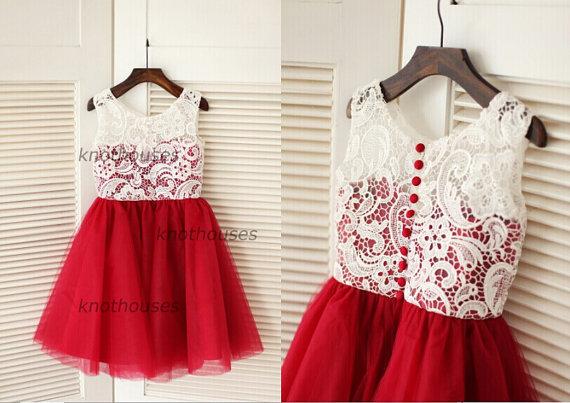 69375ea5352e4 Red Tulle Ivory Lace Flower Girl Dress Children Toddler Dress For ...