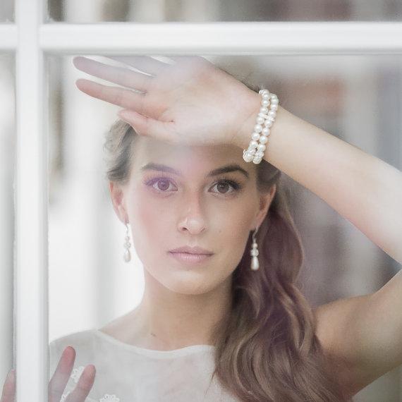 Mariage - Pearl Bracelet  Wedding Jewelry Bridal Bracelet Bridesmaid Bracelet Double Strand Swarovski Ivory White Pearl Bracelet