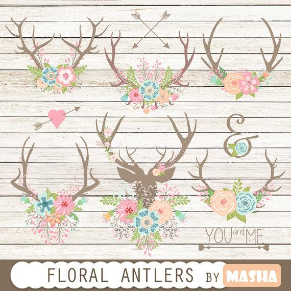 "Mariage - Floral antlers: ""Floral Antlers"" antler clipart, floral bouquet, rustic wedding, wedding clipart, wedding invitations, arrows"