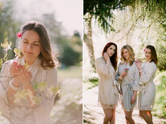 Wedding - First light of Dawn. 4 knee length robes in faux crepe de chine silk trimmed with lace. Bridal robes and bridesmaids robes in neutral tones.