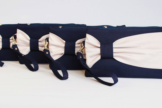 Wedding - Promotional sale   - SET OF 5  Navy beige bow wristelt clutch,bridesmaid gift ,wedding gift ,make up bag,zipper- yellow