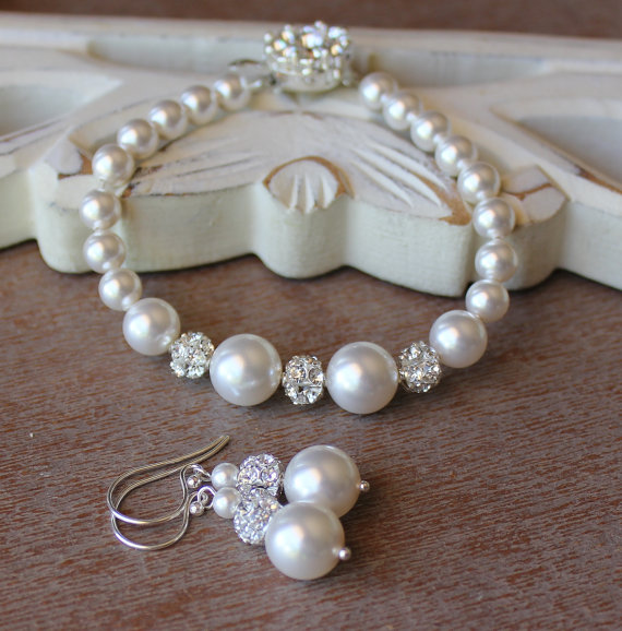 Pearl And Crystal Bridal Set Bracelet Earrings Jewelry Bridesmaids