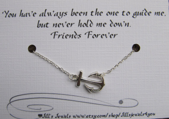 Quotes About Best Friends Gift : Best friend anchor charm necklace and friendship quote