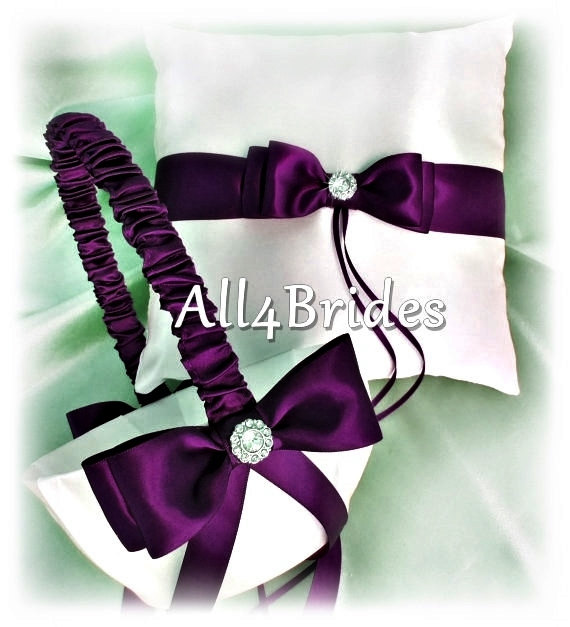 deep purple wedding ring bearer pillow and flower girl basket wedding ring cushion and basket. Black Bedroom Furniture Sets. Home Design Ideas