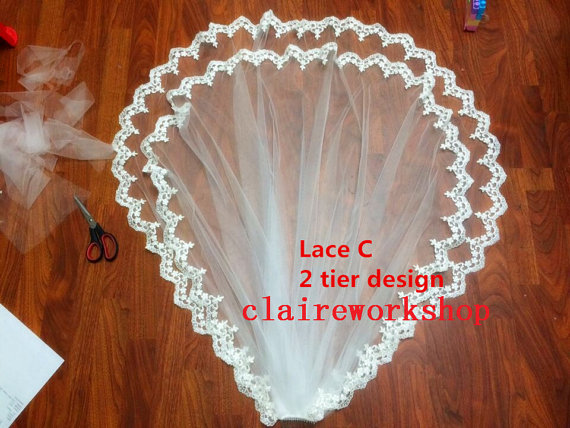 Mariage - Custom design soft tulle flower lace wedding veil IVORY bride wedding veils1 tier 2 tier design any length with comb
