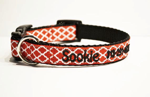 Свадьба - Personalized - Red Moroccan Dog Collar - Made to order