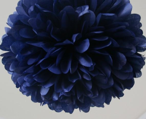 Mariage - Navy Tissue Paper Pom Poms- Wedding, Birthday, Bridal Shower, Party Decorations