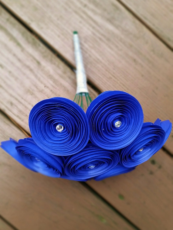 Paper flower bouquet 12 royal blue yellow paper flowers handmade paper flower bouquet 12 royal blue yellow paper flowers handmade paper flowers for brides weddings showers birthdays mightylinksfo