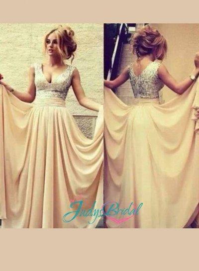 زفاف - LJ14084 v neck silvery sequins chiffon long prom dress