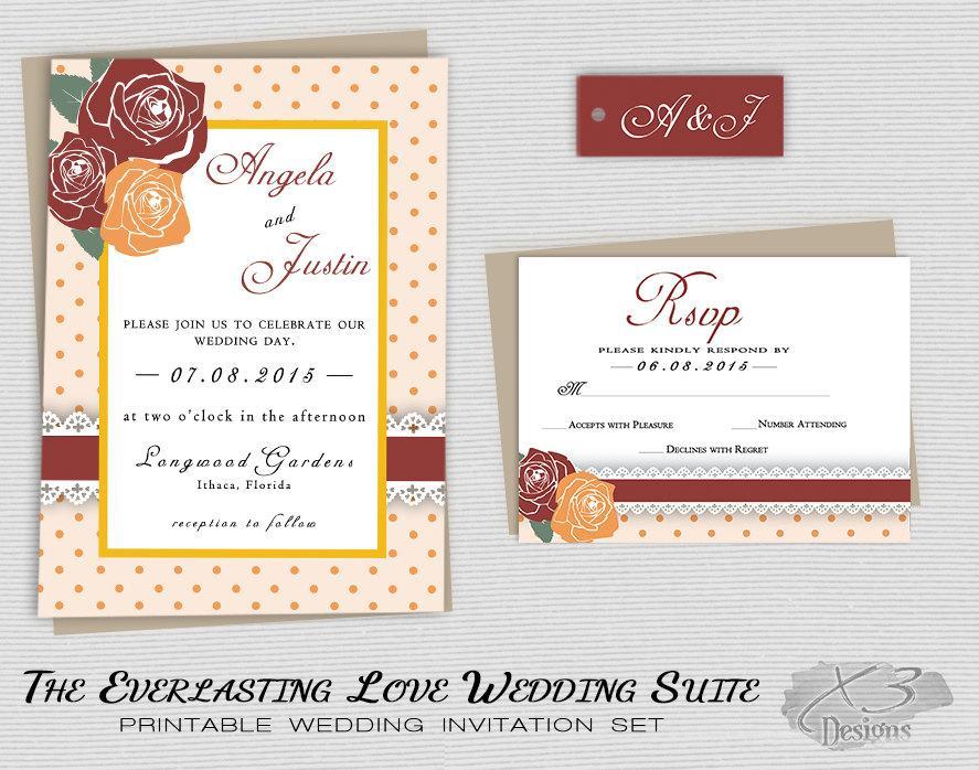 زفاف - Fall Rustic Wedding Invitation Set, Printable Country Barn Wedding Invitation, Backyard Floral Wedding Invite, DIY, Red Yellow Orange Roses