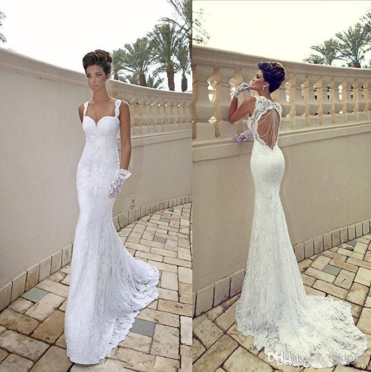 2014 vestido de noiva sexy spaghetti sweetheart white for Sexy open back wedding dress
