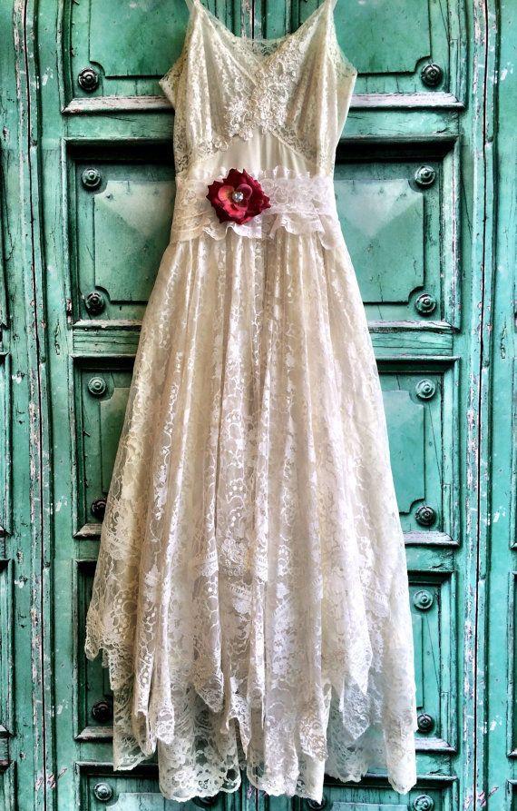 White Ivory Lace Handkerchief Hem Boho Wedding Dress By Mermaid