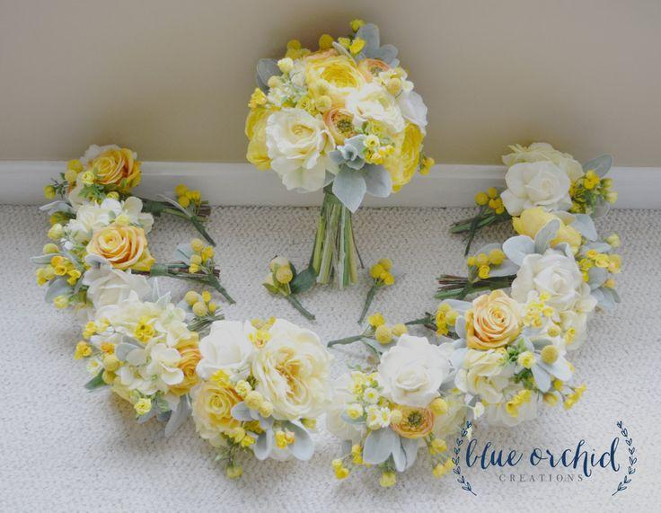 Yellow and cream wedding package silk flower wedding bouquets yellow and cream wedding package silk flower wedding bouquets boutonnieres roses peonies ranunculus billy buttons dusty miller mightylinksfo