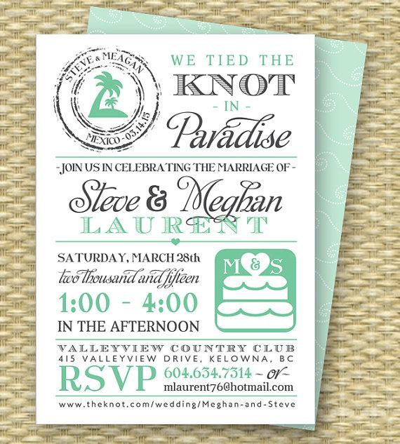 زفاف - Destination Wedding Invitation Post-Destination Wedding Reception Invitation Tied the Knot in Paradise Beach Wedding Invite, ANY COLORS