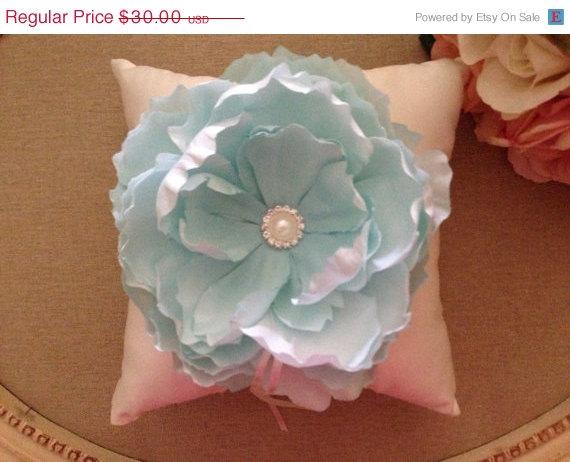 Свадьба - ON SALE Ring Bearer Pillow - light Blue Flower Ring Bearer Pillow - Wedding Pillow - satin Ring Bearer Pillow